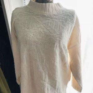 Vintage White Southwest Knit Mock Neck